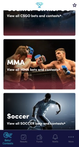 MMA bet with ZenSports step 1