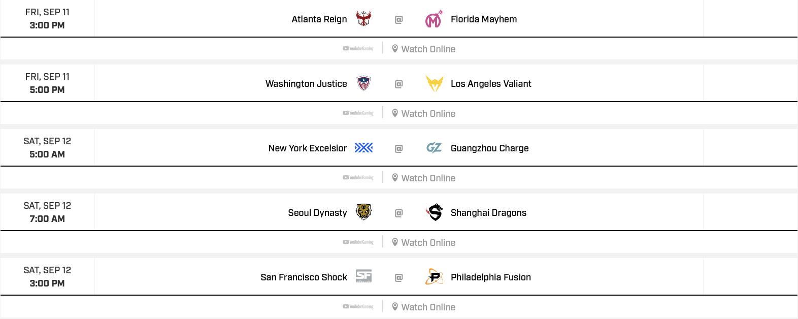Overwatch League – Playoff Schedule
